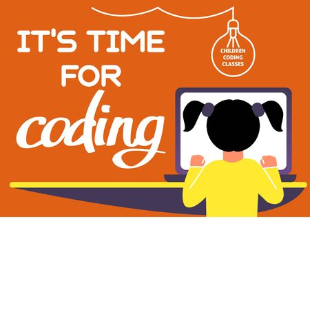 A horizontal image of the girl who studies coding. A vector image for a flyer or a poster for the chidren coding school. Purple and yellow colors