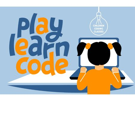 A horizontal image of the girl who studies coding. A vector image for a flyer or a poster for the chidren coding school. Blue and white colors