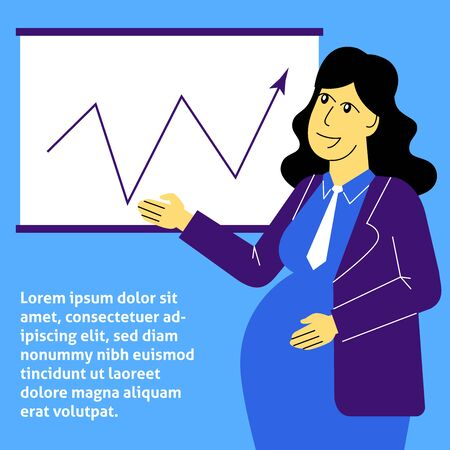 A square flat vector image of a pregnant woman working in the office. Life and work balance. A woman making career.