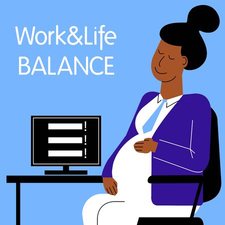 A square flat vector image of a pregnant woman having a stress situation in the office. Life and work balance. A woman making career.