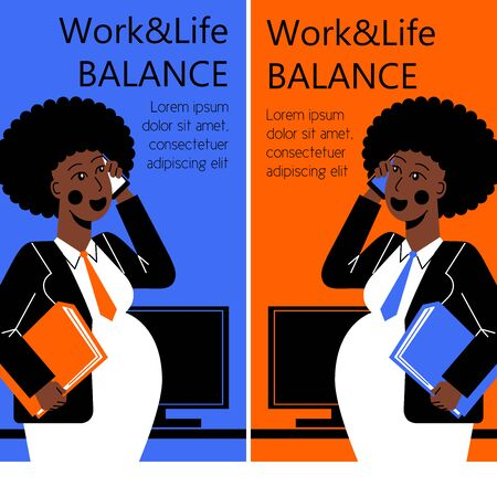 A vertical flat vector image for smartphone of  a pregnant woman working in the office. Life and work balance. A woman making career.
