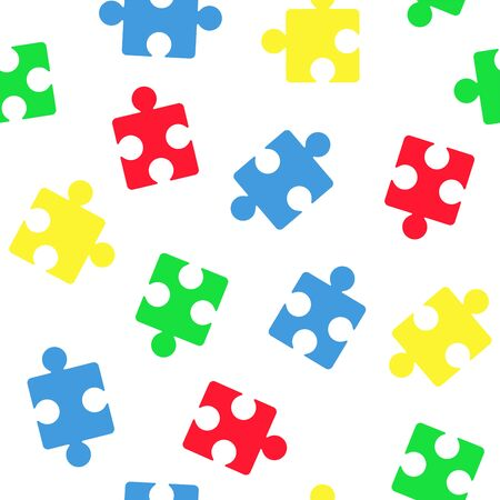 A seamless vector pattern with puzzle elements for the autism awareness day. A template for a medicine flyer poster card design