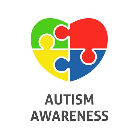 A square vector image with a heart of puzzle elements for the autism awareness day. A template for a medicine flyer poster card design