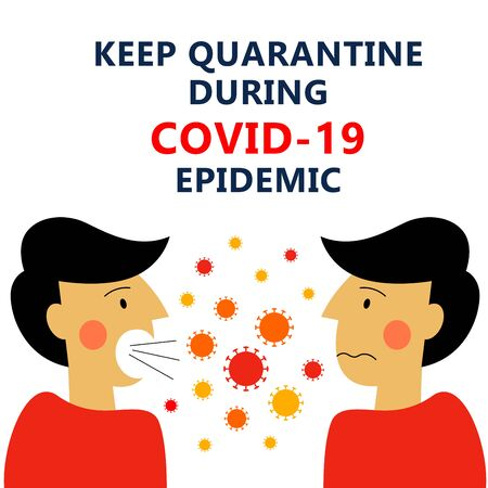 A square vector image with an infected person contacting with a healthy person. Keep quarantine during the coronavirus epidemic.