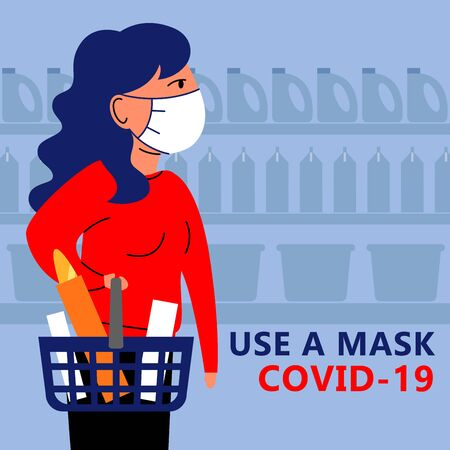 A square vector image with a woman being in the public store and wearing a medical mask. Keep quarantine during the coronavirus epidemic. Vetores