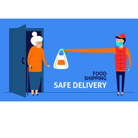 A horizontal vector image of a courier in a medical mask and gloves keeping distance. Safe delivery service. Coronavirus quarantine illustration.