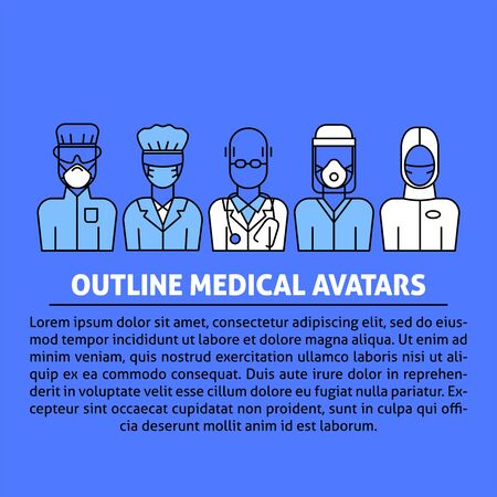 A vector design with medical avatars of doctors and nurses in protective medical clothes with masks. Coronavirus epidemic illustration for flyer, poster template.