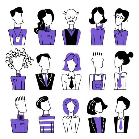 A set of vector doodle business avatar for presentation design and web site. A set of vector dooodle businees avatar for presentation design and web site. Profession freehand image