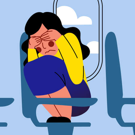 A vector image of a woman in the airplane having an aerophobia. A passenger being nervous and in a stress. A color image for a travel poster, flyer or article.
