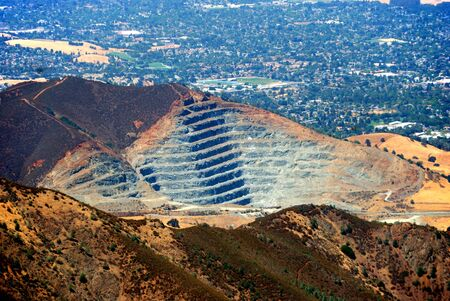 Rock Quarry at Mt. Zion, California as seen from Mt. Diablo 스톡 콘텐츠