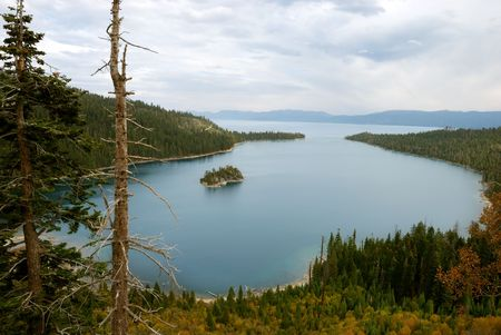 Emerald Bay on lake Tahoe on a cloudy day Stock Photo