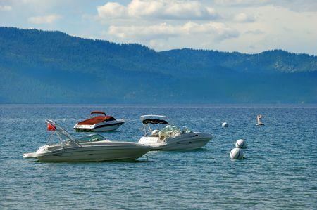 speedboats: Three speedboats on lake Tahoe in California