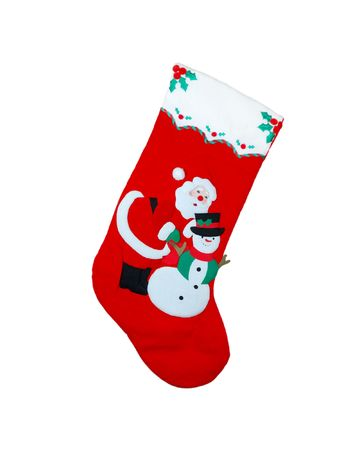 Red Christmas stocking showing Santa Claus and a snowman