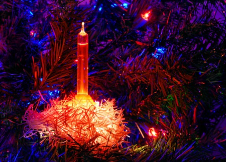 Christmas Tree Light Shining in the Dark