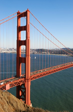 Detail of Golden Gate Bridge in San Francisco California on a sunny afternoon