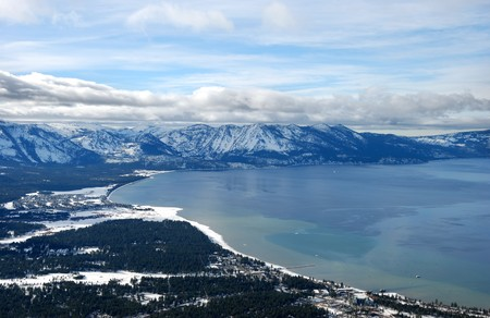 frozen lake: view from heavenly ski resort on South Lake Tahoe in winter