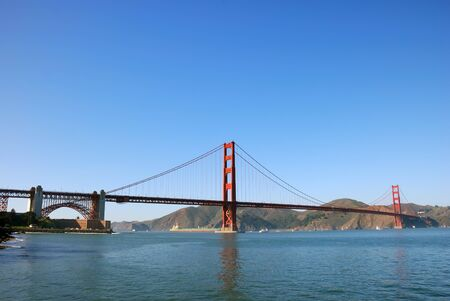 Panorama of Golden Gate Bridge in San Francisco on a sunny afternoon