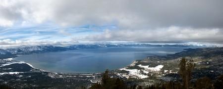 Lake Tahoe Winter Panorama - view from South Lake Tahoe