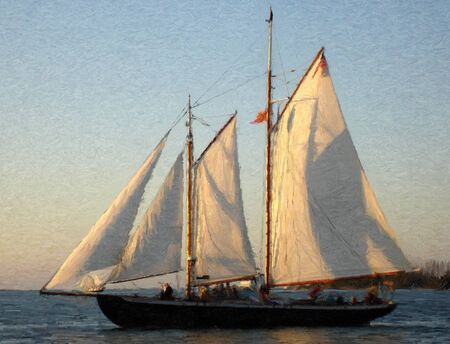 painting of a sailship at sunset in oil technique made on a computer Stock Photo