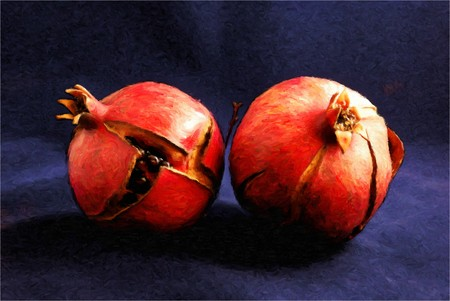 painting of two cracked pomegranates in oil technique made on a computer