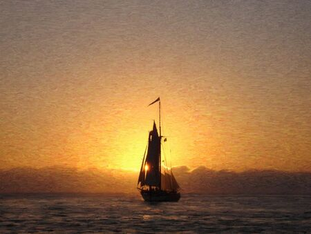 painting of a sailship sailing into sunset in oil technique made on a computer