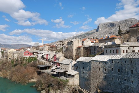Mostar Old Town on a sunny winter day. photo