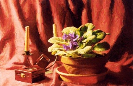 painting of a violet with a wooden box and candle holder in oil technique made on a computer Stock Photo - 4438325