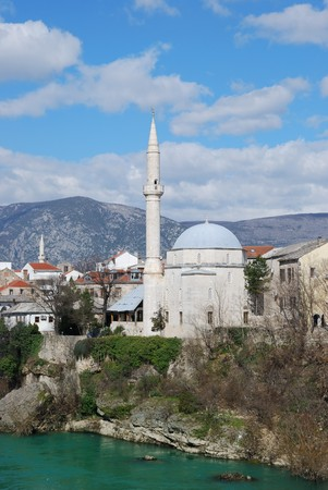 mehmed: Koski Mehmed Pasha Mosque in Mostar Old Town on a sunny winter day.