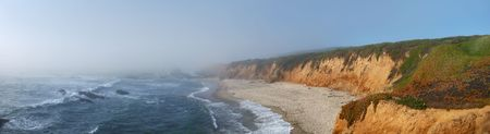 California coast with fog coming from the Pacific to the land. Stock Photo