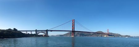 Panorama of Golden Gate Bridge in San Francisco.