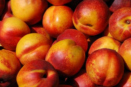 Nectarines in a farmers market on a sunny day. Stock Photo