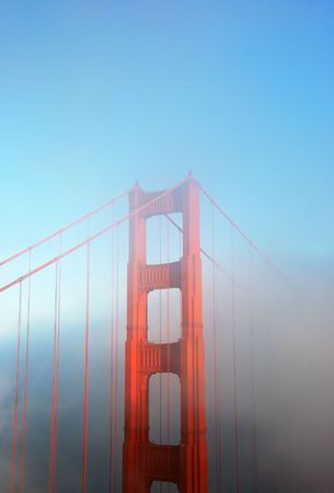 Detail of the Golden Gate Bridge in San Francisco on a foggy afternoon.