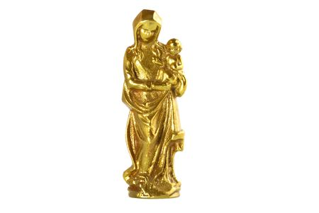 A figurine of Saint Mary and Jesus made of brass isolated on white background. Stock Photo