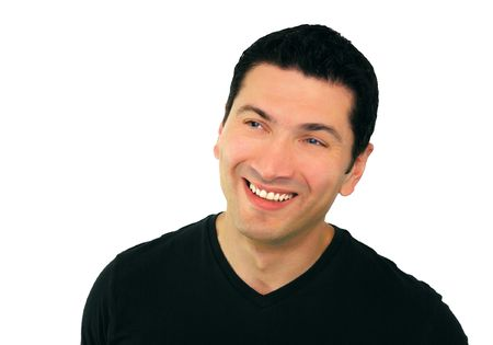 A portrait of a smiling man in his thirties wearing black t-shirt over white background.