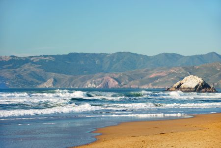 Ocean Beach in San Francisco California with waves coming to the sand