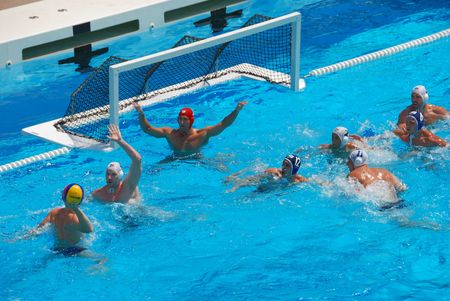 STANFORD, CALIFORNIA - JUNE 7, 2009 : USA:SERBIA friendly waterpolo game at the Avery Aquatic Center. Editorial