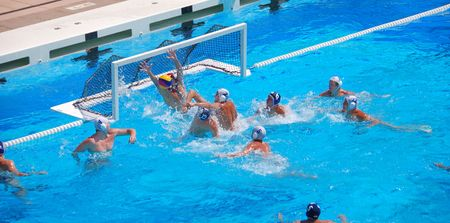 STANFORD, CALIFORNIA - JUNE 7, 2009 : USA:SERBIA friendly waterpolo game at the Avery Aquatic Center. Stock Photo - 6884713