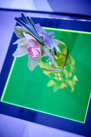 Beautiful orchid cocktail flower arrangement on lucite table set up for a party top view with reflection