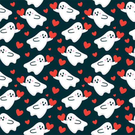 cute cartoon ghost give love heart seamless pattern vector illustration Ilustração Vetorial