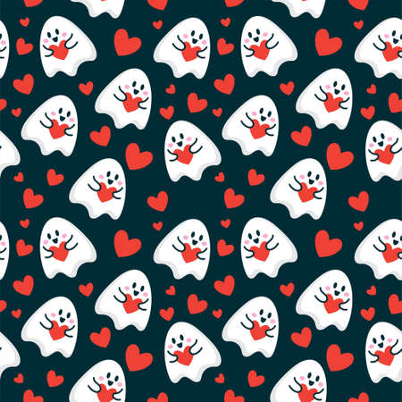 cute cartoon ghost give love heart seamless pattern vector illustration