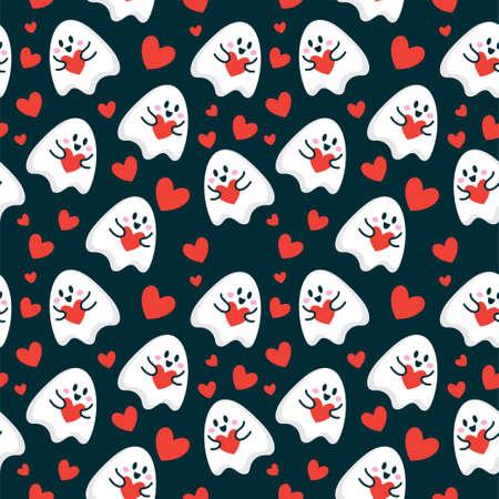 niedlicher Cartoon-Geist geben Liebesherz nahtlose Muster-Vektor-Illustration