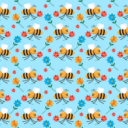 cute bee cartoon seamless pattern vector illustration