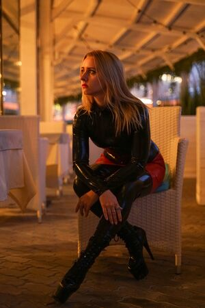 brave girl in latex walks in public and shows her exhibitionism Stok Fotoğraf