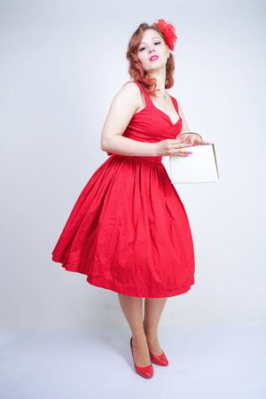 Beautiful girl in pinup style dress isolated on white Stock Photo