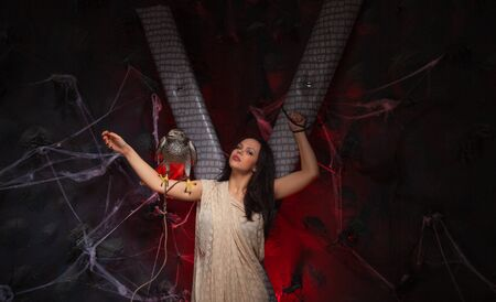 beauty brunette girl and a hawk on dark gothic scary studio background Stock Photo