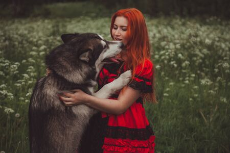 Girl with big grey dog on the nature background at summer time. Lifestyle photo. 写真素材