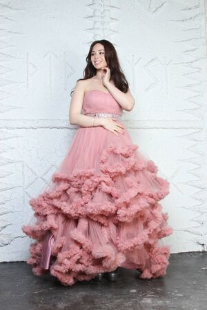 Portrait of fashionable young beauty girl in big long evening pink dress Banque d'images
