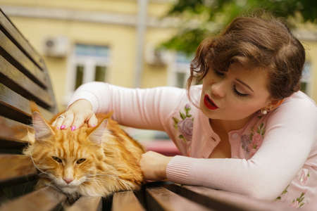 big red maine coon cat is scary and sad. young owner woman hugs and strokes her orange pet in stress from first walk outdoor. 免版税图像 - 157963870