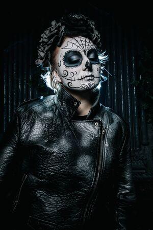 halloween dark gothic scary makeup. Santa Muerte concept.