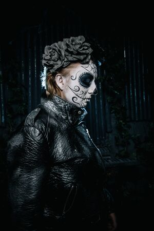 halloween dark gothic scary make up. Santa Muerte concept. Zdjęcie Seryjne